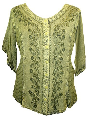 Scooped Neck Medieval  Embroidered Blouse - Agan Traders, Lime Green