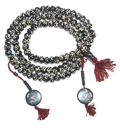 Tibetan Buddhist 108 Bead Prayer Meditation Wrist Necklace Mala - Agan Traders, OM 10mm
