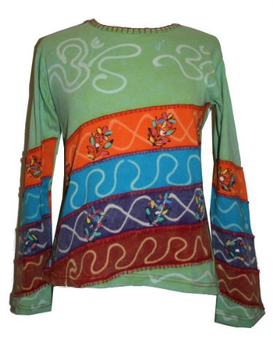 Rib Cotton Funky Diagonal Patches Bohemian Blouse - Agan Traders