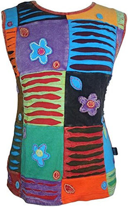 Cotton Viscose Vibrant Patch Razor Cut Embroidered Cap Sleeve Top Blouse - Agan Traders, Multicolor