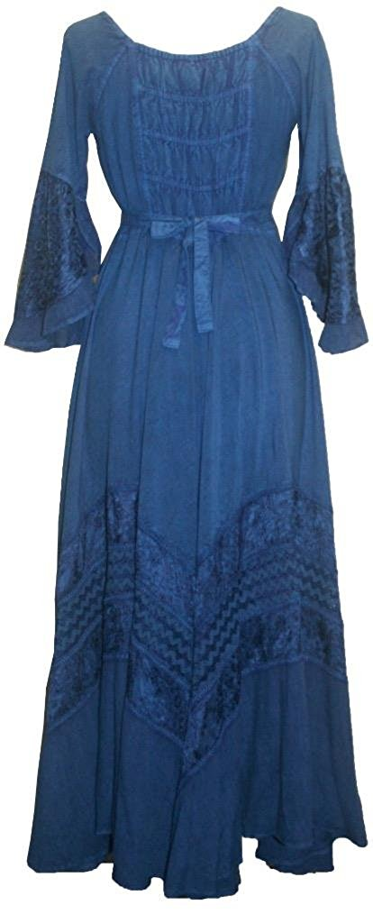 106 DR Renaissance Victorian Embroidered Flaire Hem Corset Dress Gown - Agan Traders, Navy Blue