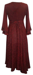 Medieval Butterfly Embroidered Bell Sleeve Mid Calf Dress ~ India - Agan Traders, Burgundy
