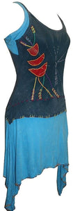 RD 09 Bohemian Light Weight Knit Cotton Summer Spaghetti Strap Sun Dress - Agan Traders, Teal Turquoise