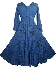 Medieval Butterfly Embroidered Bell Sleeve Mid Calf Dress ~ India - Agan Traders, Navy
