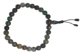 8mm Original Tibetan Buddhist Beads Prayer Meditation Bracelet - Agan Traders, Green Agate