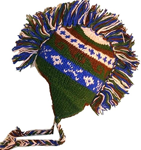 Agan Traders Hand Knitted 100% Wool Mohawk Hat Mitten Set One Size - Agan Traders, BlueGreen