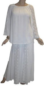 Rayon Crape Bohemian Gypsy Lace Sleeve Medieval Tunic Blouse - Agan Traders, White