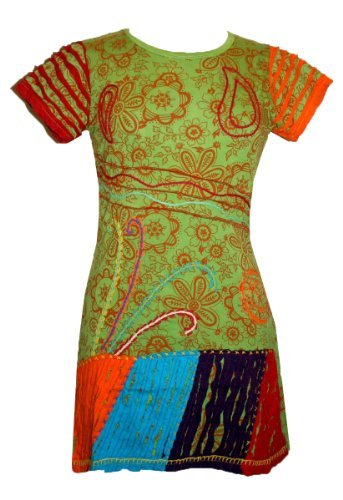Knit Viscose Razor Cut Embroidered Light Weight Summer Short Baby Doll Dress - Agan Traders, Lime