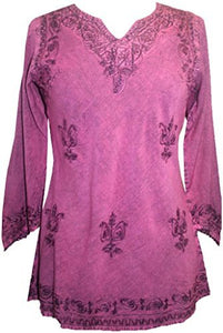 Embroidered Rayon Renaissance Blouse - Agan Traders, Plum