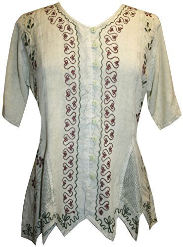 Gypsy Medieval Netted Assymetrical Vintage Top Blouse - Agan Traders, Sea Green C
