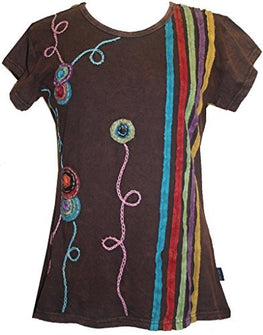 R 015 Agan Traders Knit Cotton stripe flower Boho Gypsy Top Blouse - Agan Traders, Brown
