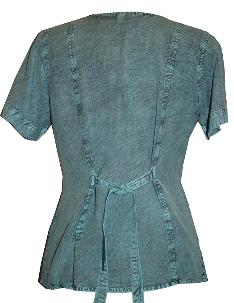 Medieval Renaissance Gypsy Ruffle Cross Blouse - Agan Traders, Turquoise