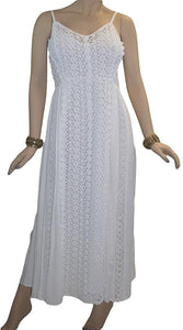 Rayon Crape Medieval Peasant Net Spaghetti Strap Dress - Agan Traders, White