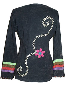 Flower Stems Embroidered Neckline & Cuff Patched Boho Gypsy Top Blouse - Agan Traders, Charcoal