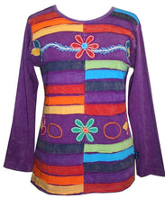 Rib Knit Cotton colorful Patched Embroidered Top Blouse. - Agan Traders, Purple