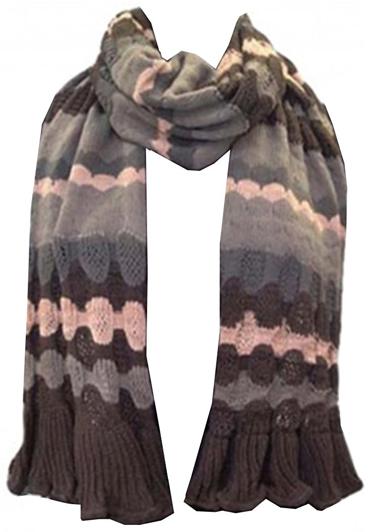 Knitted Waves Trendy Stylish Warm Soft Scarf Stole Multiple Colors - Agan Traders