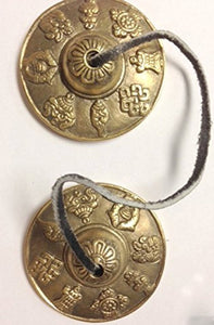 "New Tibetan Auspicious Symbols Hand Crafted 2.75"" Diameter Ting-Sha - Agan Traders"