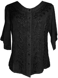 Scooped Neck Medieval  Embroidered Blouse - Agan Traders, Black