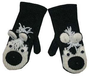 Animal Glove Wool Fleece Lined Warm Soft Adult Teenagers Outdoor Activities Ski Mitten - Agan Traders, Skunk Mitten