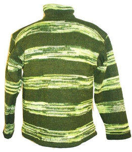Green Striped Wool Fleece Lined Knitted Jacket - Agan Traders