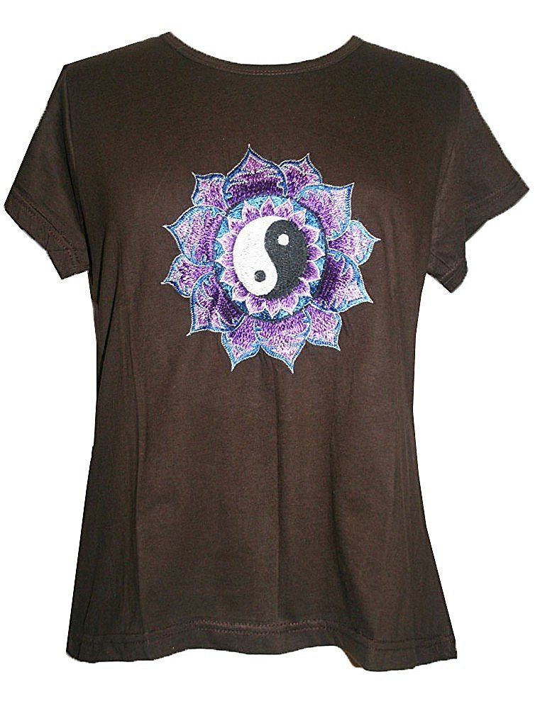 Ying Yang Embroidered Stretchy Yoga Tee - Agan Traders, Choco Brown