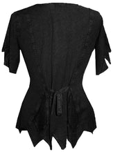 Gypsy Medieval Netted Assymetrical Vintage Top Blouse - Agan Traders, Black