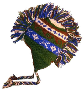 Mohawk Wool Funky Beanie Flag Hats - Agan Traders, Green Blue 938