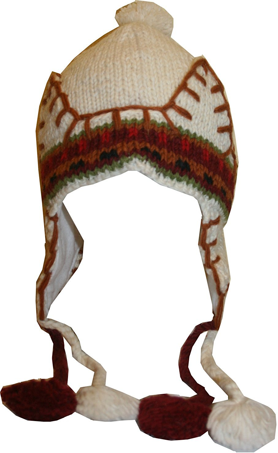 Highland Wool Knit Beanie Fleece Earflap Beanies - Agan Traders, Cream Rust