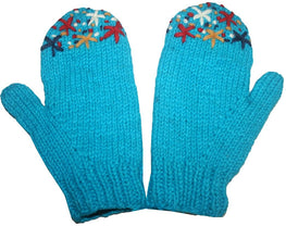 Warm Cozy Fleece Lined Ski Wool Unisex Women Hand Knitted Mitten - Agan Traders