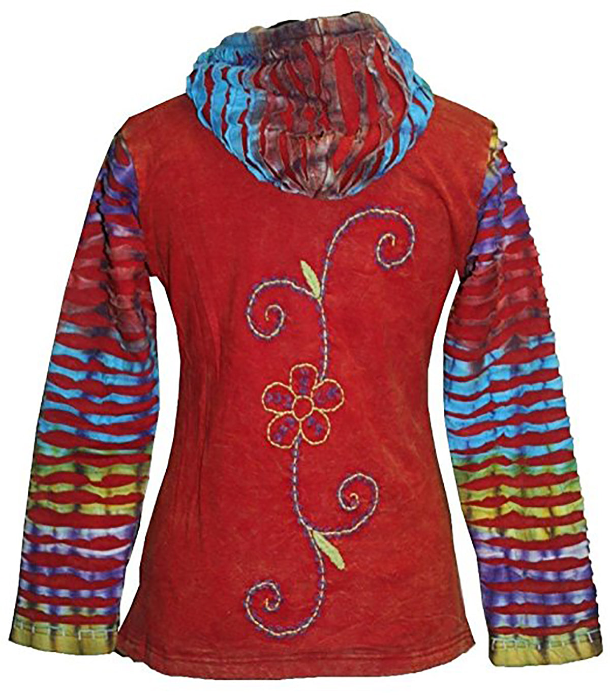 RJ 353 Rib Cotton Rainbow Arc Tie-Dye Bohemian hoodie Jacket