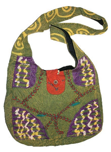 Bg 114 1AD HANDMADE PURSE YOGA HIPPY SHOULDER BOEMIAN BOHO TOTE BAG - Agan Traders, Green