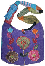 JSA 02 Agan Traders Flower Patched Cotton Bohemian Hippie Cross Shoulder Bag Purse - Agan Traders