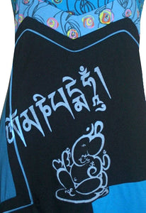 DR 541 Agan Traders Nepal Bohemian Gypsy Om Mani Script Knit Cotton Baby Doll Dress - Agan Traders