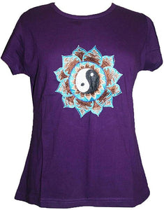 Ying Yang Embroidered Stretchy Yoga Tee - Agan Traders, Purple