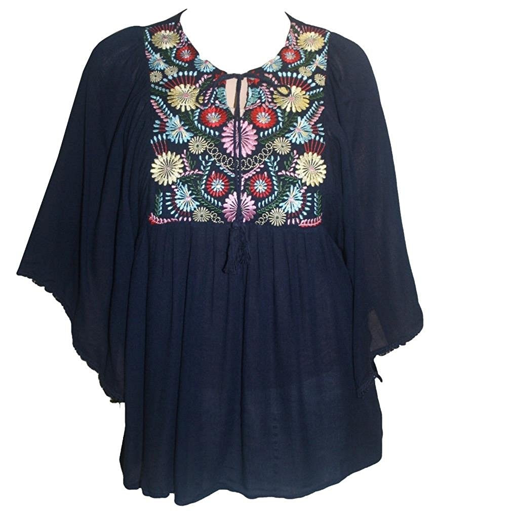 Rayon Crape Bohemian Medieval Short Wide Sleeve Embroidered Tunic Blouse - Agan Traders, Navy