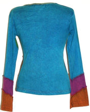 Rib Cotton Funky Patch Bohemian Blouse Top T-shirt - Agan Traders, Turquoise Orange