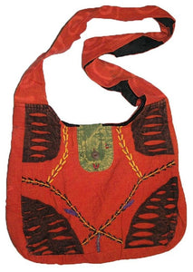 Bg 114 1AD HANDMADE PURSE YOGA HIPPY SHOULDER BOEMIAN BOHO TOTE BAG - Agan Traders, Red
