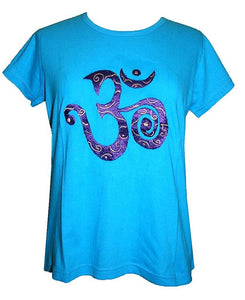 Om Embroidered Stretchy Yoga Tee - Agan Traders, Turquoise