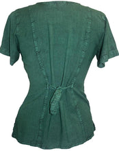 Medieval Renaissance Gypsy Ruffle Cross Blouse - Agan Traders, Hunter Green