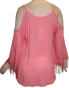 Rayon crape Shoulder Cut Out Bell Sleeve Fringes Embroidered Bohemian Gypsy Tunic Blouse - Agan Traders, Peach