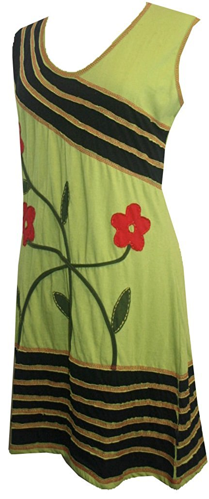 DR -18 Agan Traders Nepal Bohemian V Neck Knit Cotton Baby Doll Dress - Agan Traders, Olive Black