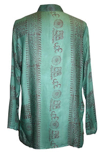 Goddess Script Printed Yoga Tunic Rayon Shirt - Agan Traders, Green 2