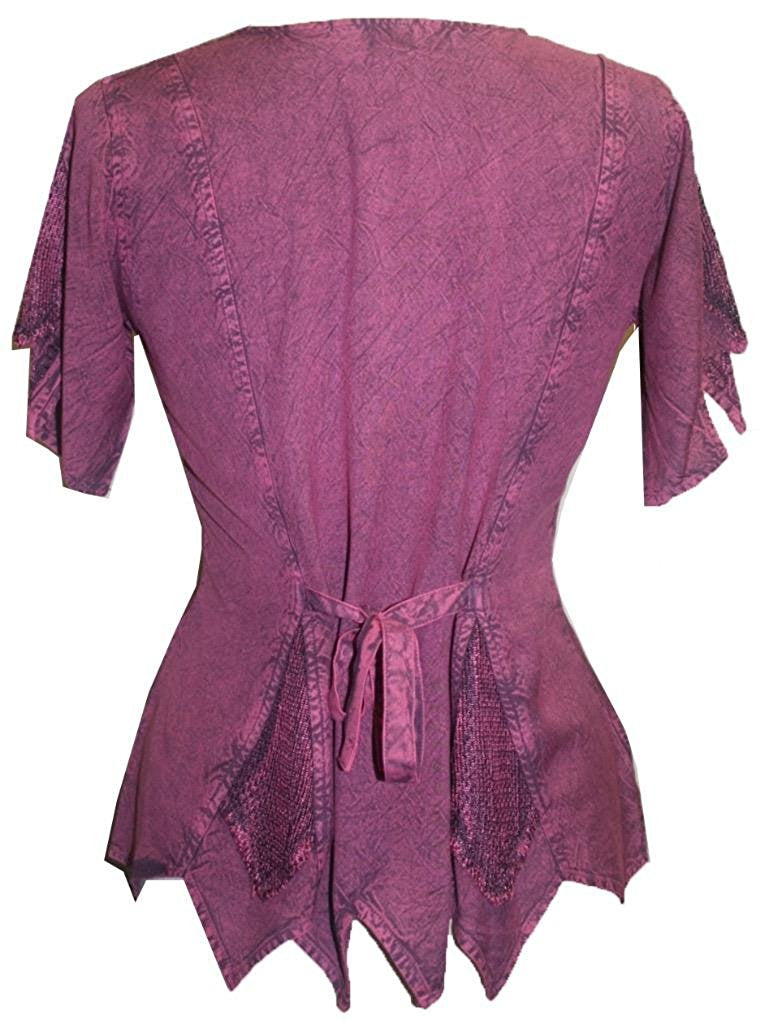 Gypsy Medieval Netted Assymetrical Vintage Top Blouse - Agan Traders, Plum Burgundy
