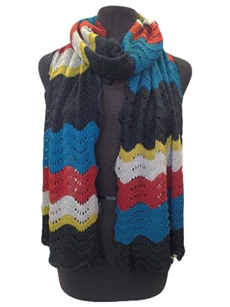 Knitted Waves Warm Winter Ski Cold Weather Scarf - Agan Traders