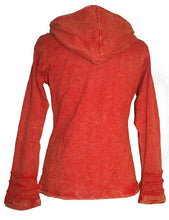 Nepal Rib Patch Cotton Bohemian Insulated Hoodie Jacket - Agan Traders, Orange Rust