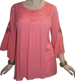 Rayon Crape Bohemian Medieval Bell Sleeve Embroidered Tunic Blouse - Agan Traders, Pink