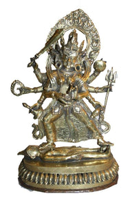 Bronze 8 Arms Black Kali Fierce Goddess Statue Fair Trade Nepal - Agan Traders