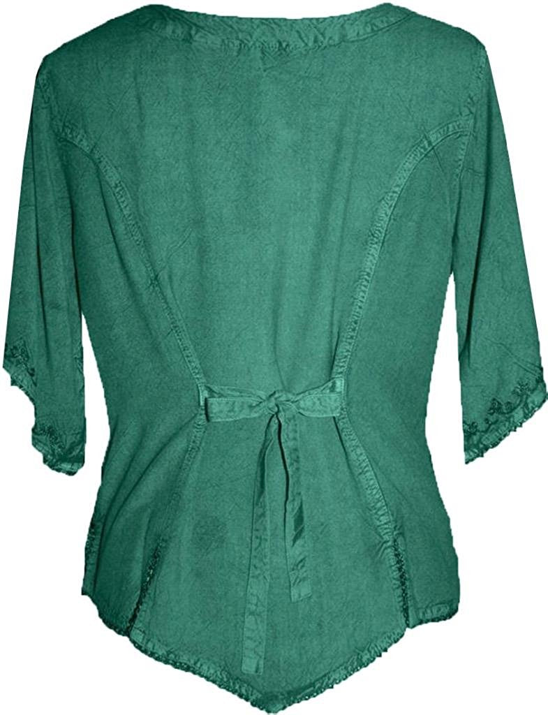 Scooped Neck Medieval  Embroidered Blouse - Agan Traders, Green