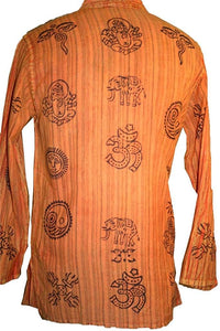 527 MS Mandarin Collar Auspicious Symbols Cotton Shirt Top - Agan Traders