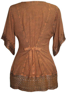 Medieval Rennaissance Peasant Gypsy Ari Lace Blouse Top - Agan Traders, Rust